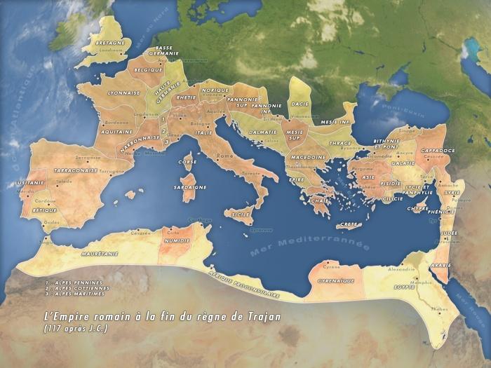 L'empire romain atteint son apogée sous l'empereur Trajan avec la conquête de la Dacie et d'une large partie de la Mésopotamie.