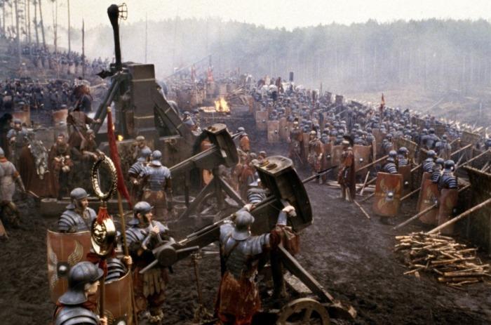 """scène d'introduction du film """"Gladiator"""", présentant une légion bataillant contre des Germains."""