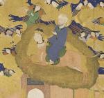 Mahomet chevauchant le buraq , sur une miniature ouzbek du XVIème siècle