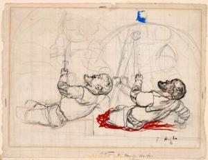 esquisse réalisée par Hodler en vue de sa fresque sur la bataille de Marignan